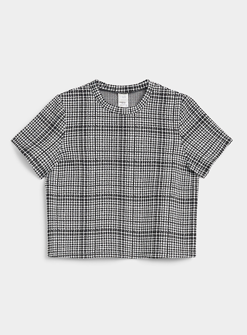 Twik Patterned Black Check pattern loose tee for women