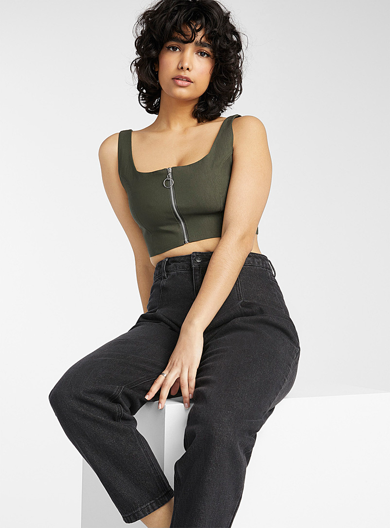 Twik Mossy Green Accent zip cropped cami for women
