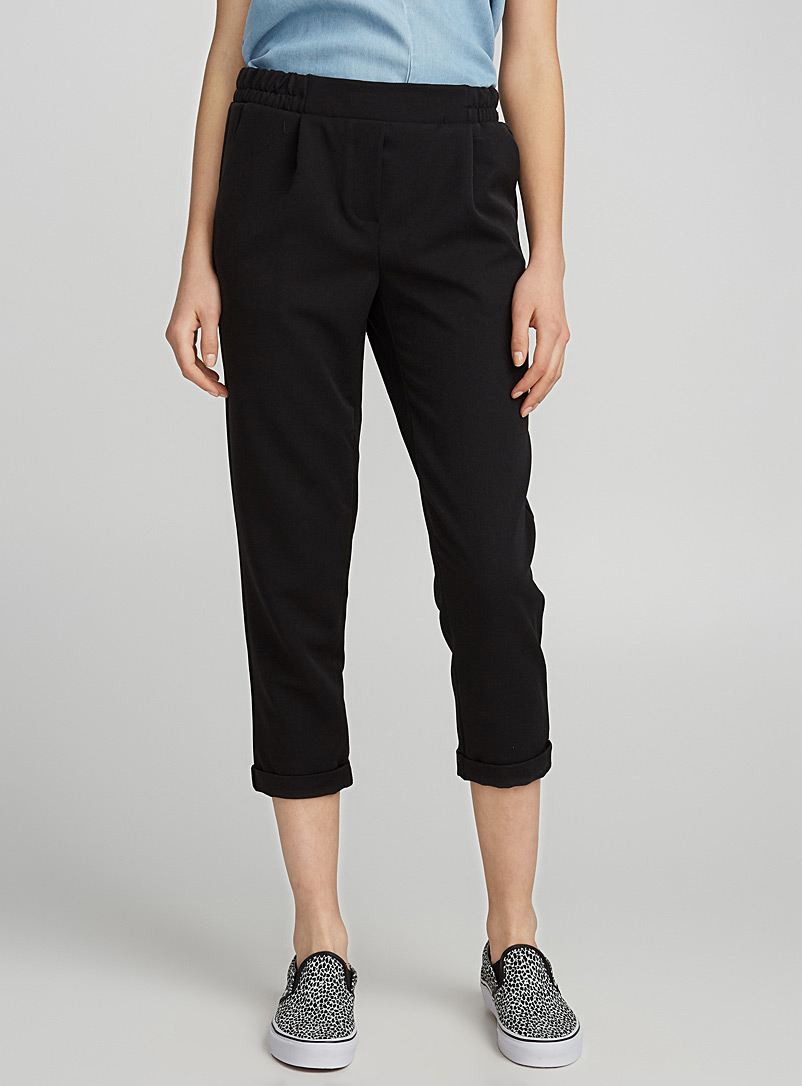 Checked ankle-length pant - Straight - Black