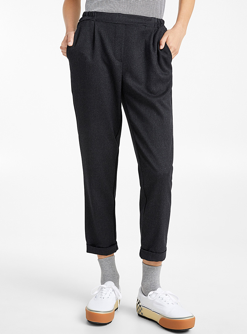 Twik Ivory White Woven ankle-length pant for women