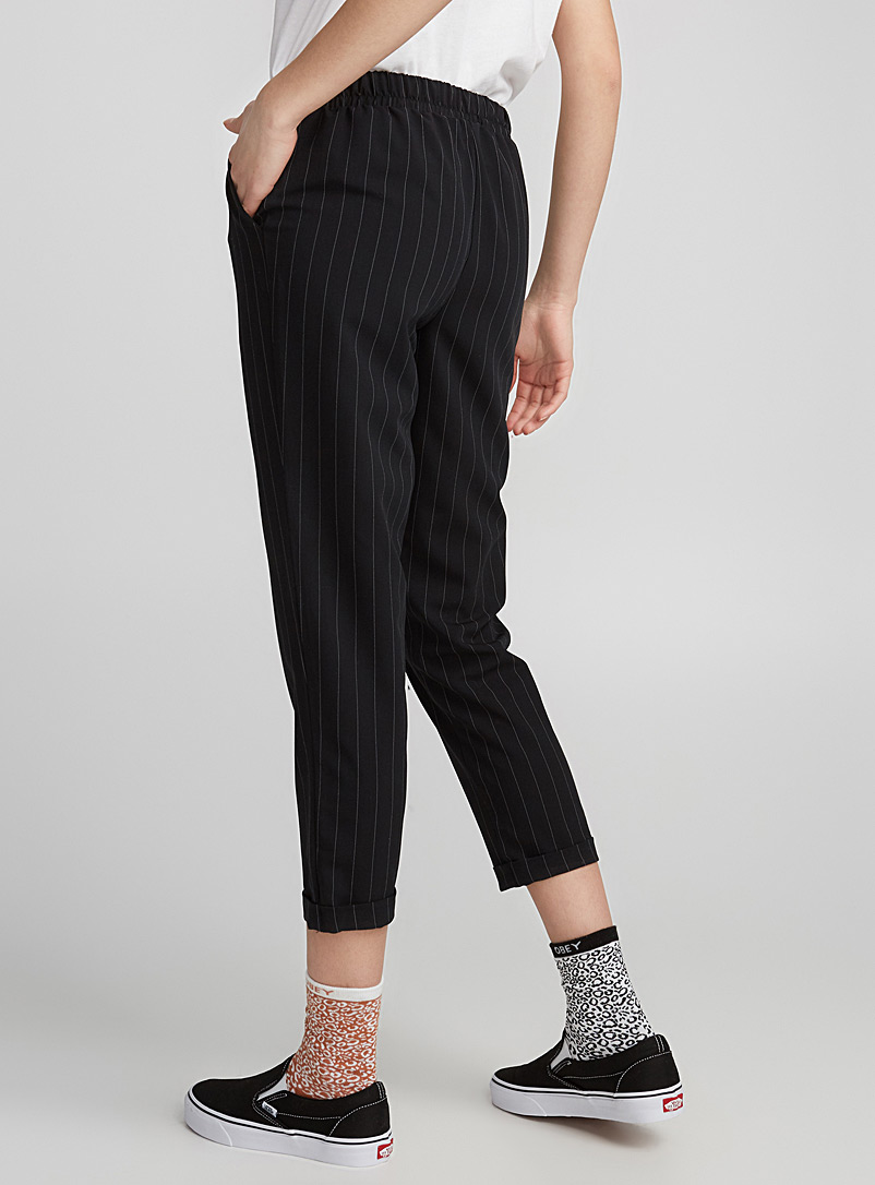 Checked ankle-length pant - Semi-Slim - Black and White