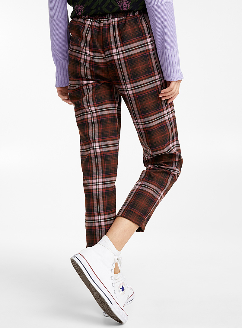 Twik Dark Brown Woven ankle-length pant for women