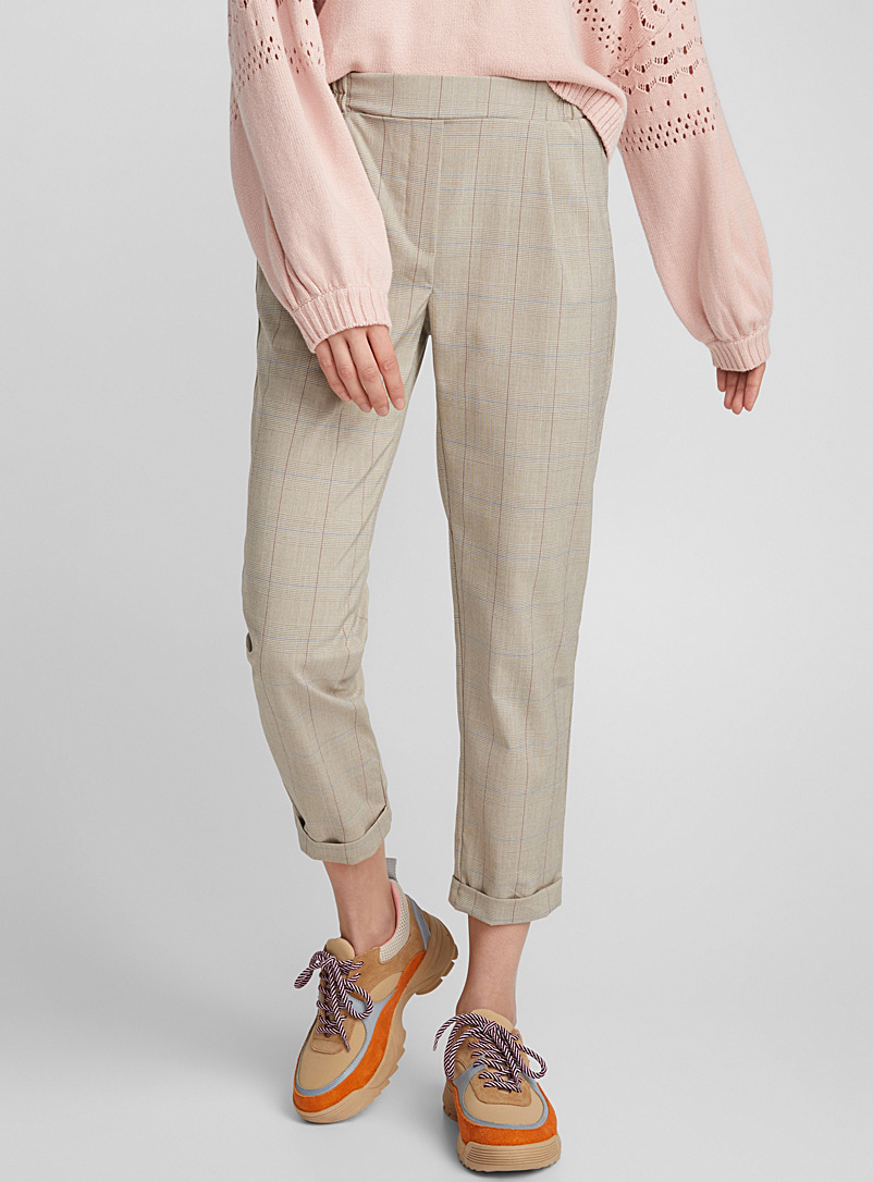 Checked ankle-length pant - Semi-Slim - Honey