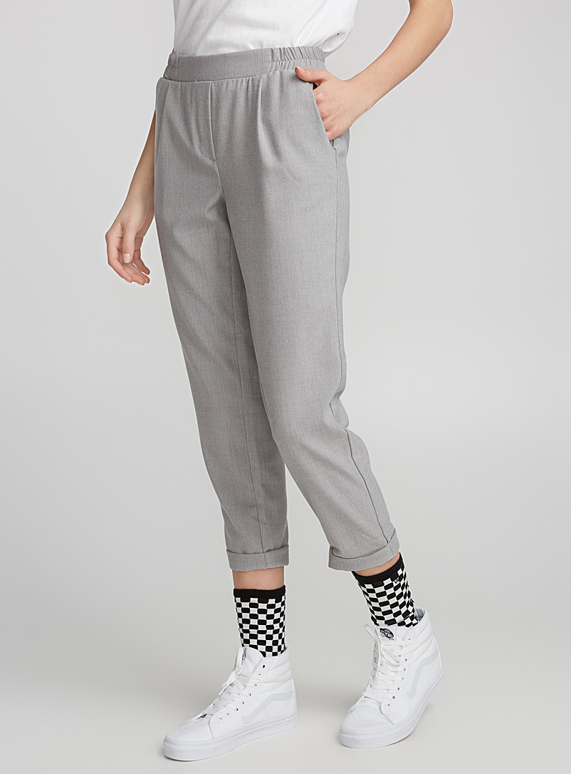Checked ankle-length pant - Straight - Light Grey