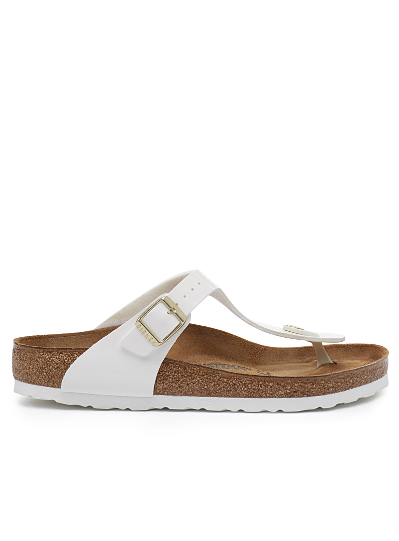 Birkenstock White Gizeh Birko-Flor patent sandals  Women for women