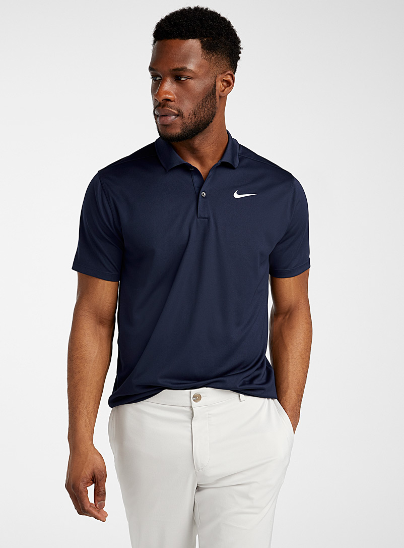 Nike Golf Marine Blue Victory logo solid polo for men