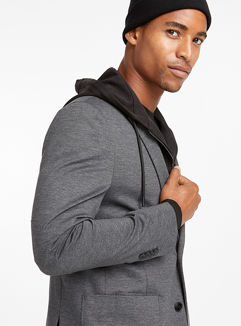 Projek Raw Black Hooded engineered jersey jacket for men