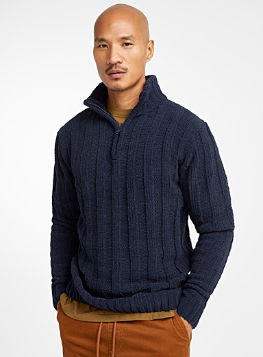 Chenille knit half-zip sweater