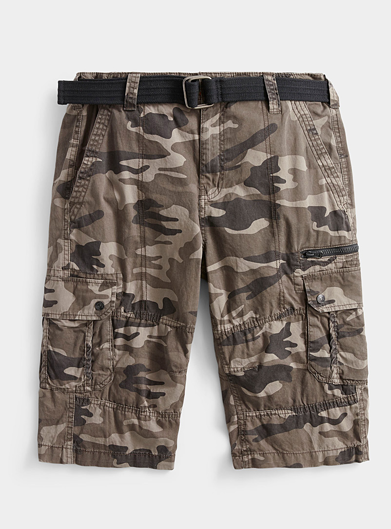 Projek Raw Mossy Green Camo cargo Bermudas for men