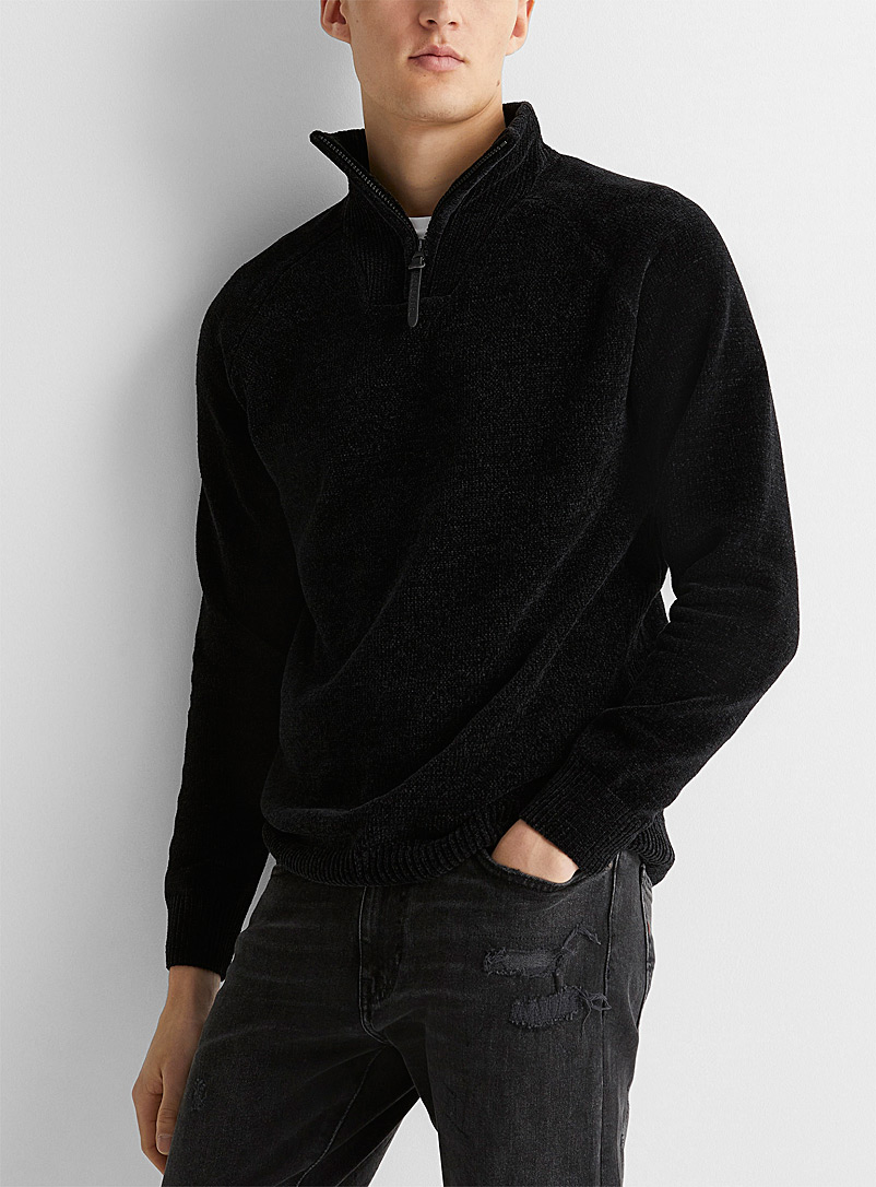Le 31 Black Chenille knit half-zip for men