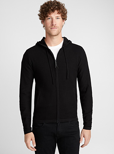 Ribbed-block zip cardigan