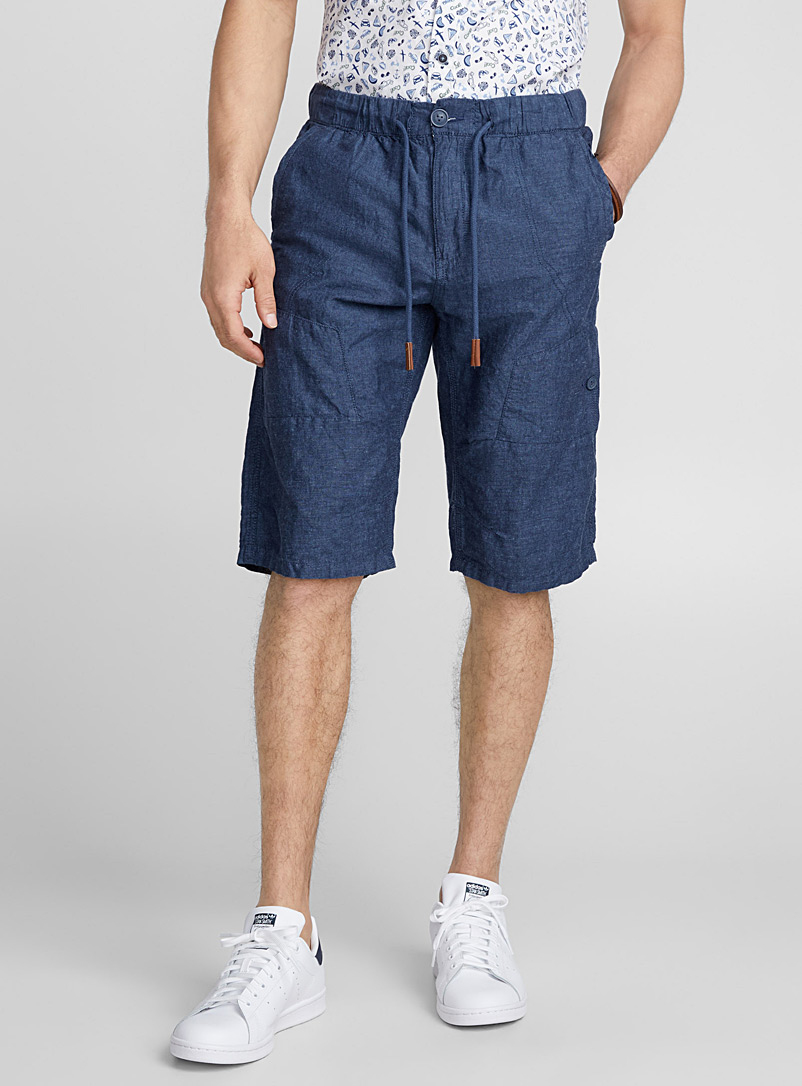 Linen and cotton bermudas   - Bermudas - Blue