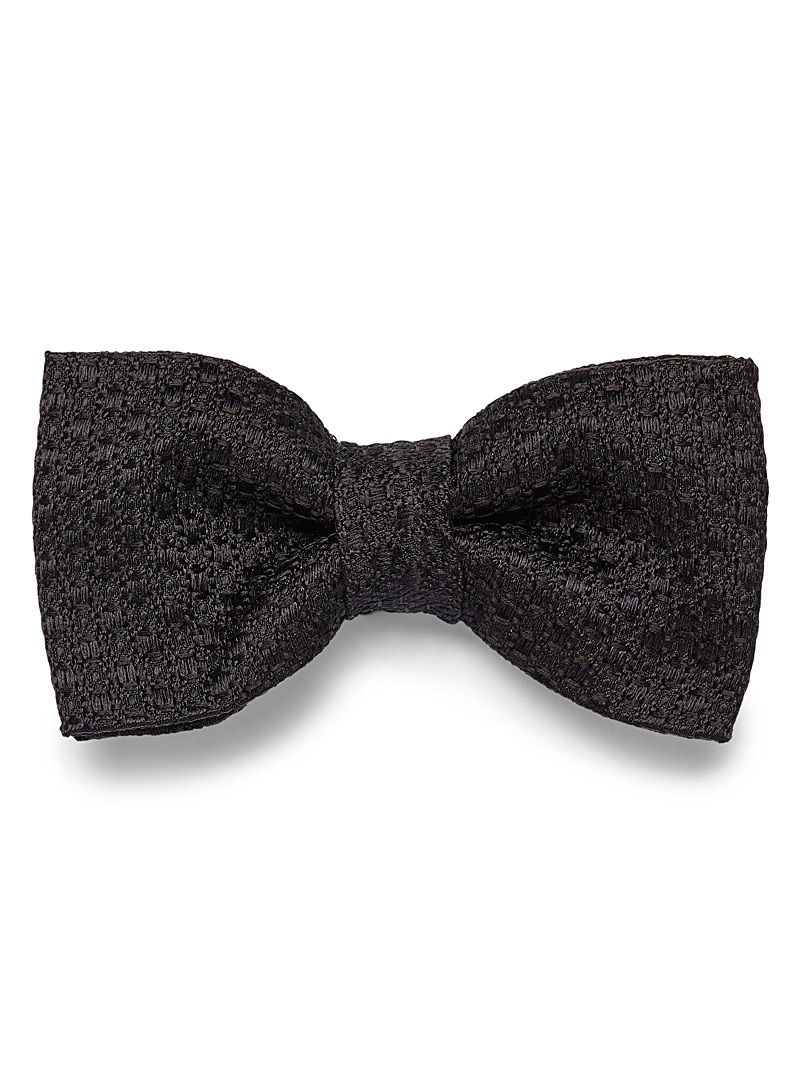 Grainy jacquard knit bow tie