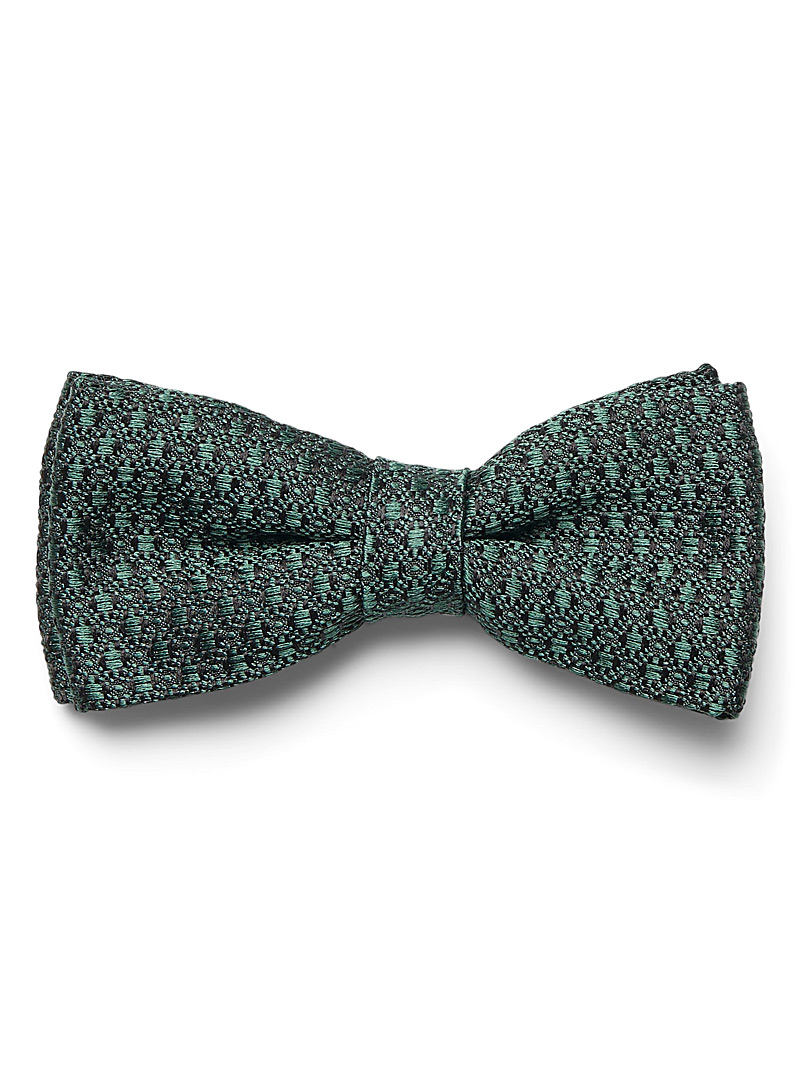 Le 31 Mossy Green Grainy jacquard knit bow tie for men