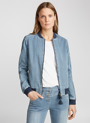 Le bomber denim fines rayures