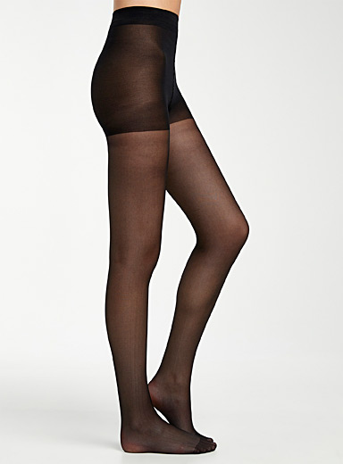 Simons Black Sofia sheer pantyhose with control panty for women