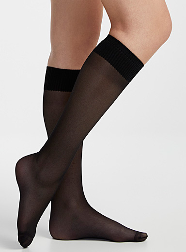 Simons Black Lioni knee-highs for women