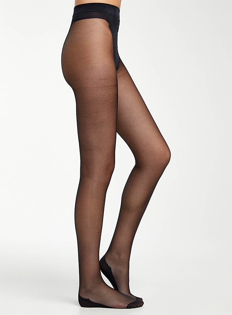 Simons Black Verona back seam pantyhose for women