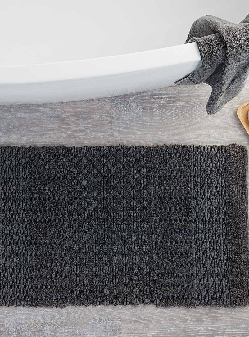 Textured stripe bath mat  50 x 80 cm - Bath Rugs - Charcoal
