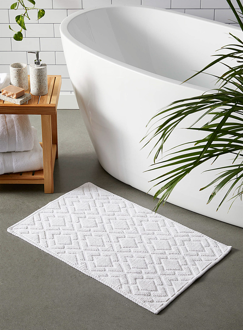 Embossed diamond bath mat  50 x 80 cm - Solid - White