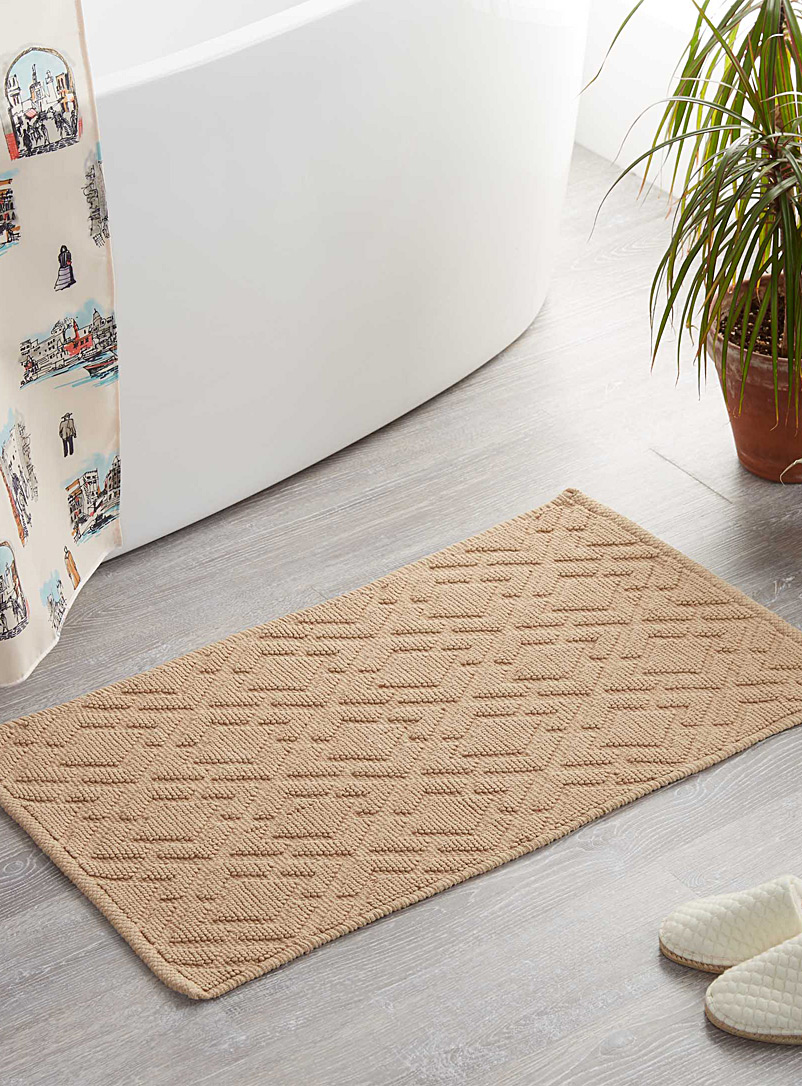 Embossed diamond bath mat  50 x 80 cm - Solid - Sand