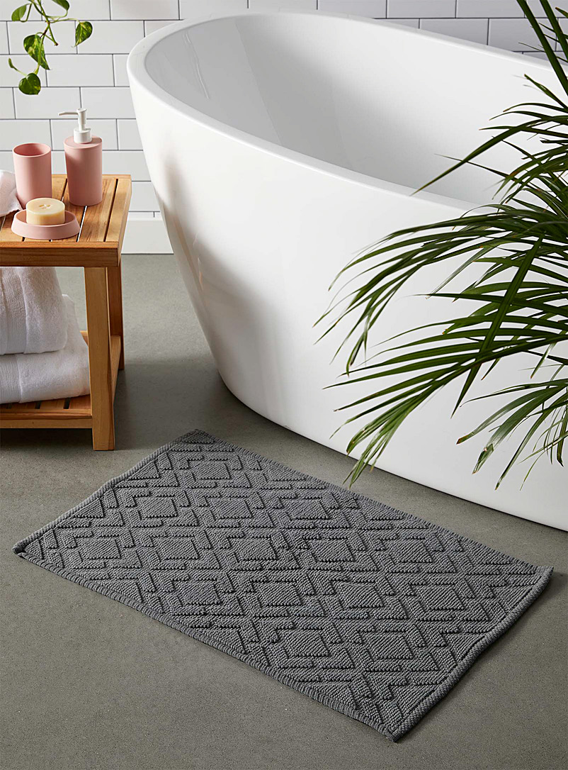 Embossed diamond bath mat  50 x 80 cm - Bath Rugs - Grey