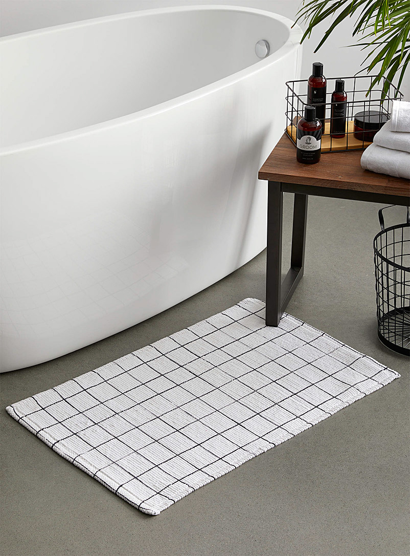 Windowpane check bath mat  50 x 80 cm