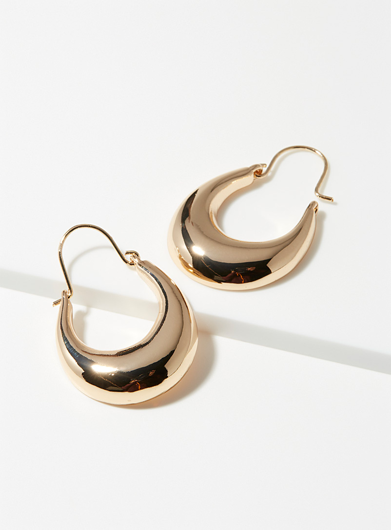 Simons Gold Shiny voluminous hoops for women