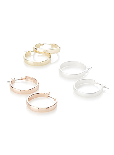 Mixed metal hoops  Set of 3