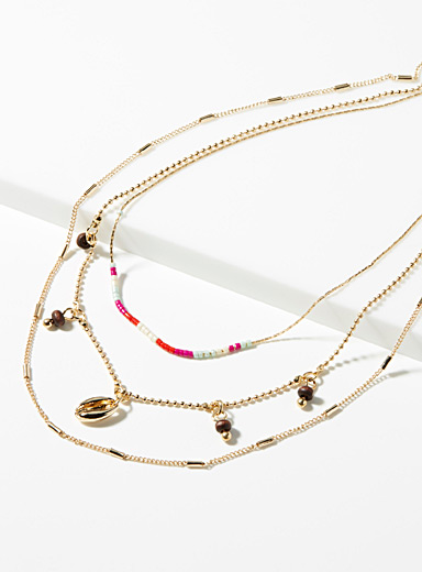 Triple-row summer detail necklace