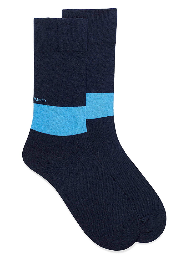 Non-elastic two-tone socks - Casual socks - Marine Blue