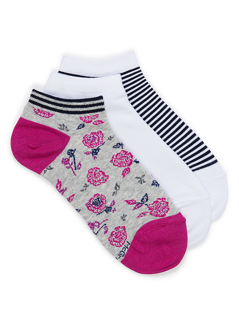 Floral and striped ped socks  Set of 3 - Socks - Grey