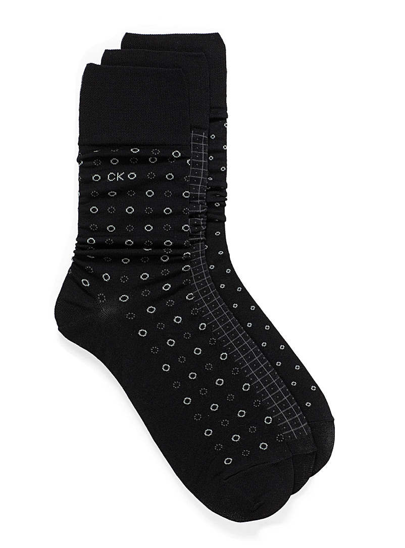 Geo micro pattern sock 3-pack - Dressy socks - Black