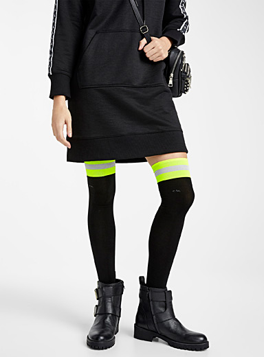 Neon stripe thigh-highs