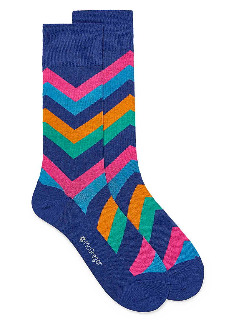 McGregor Sapphire Blue Coloured herringbone socks for men
