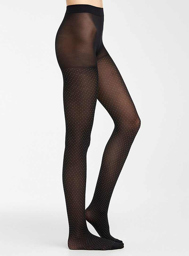 Simons Black Pin dot tights for women