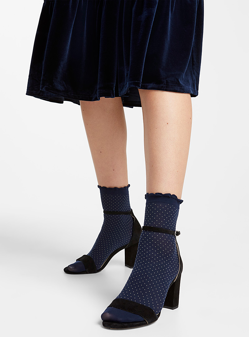 Small dot ankle socks  Set of 2 - Ankle Socks - Marine Blue