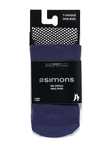 Embroidery and mesh ankle socks  Set of 2