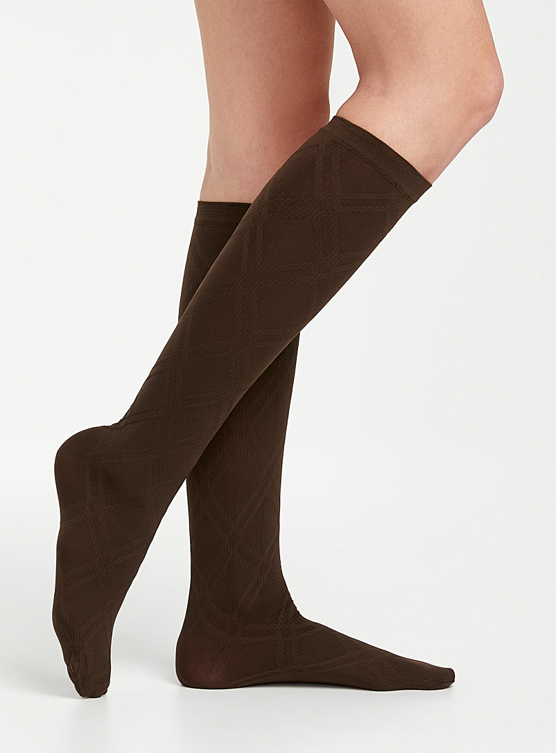Tone-on-tone diamond knee-highs