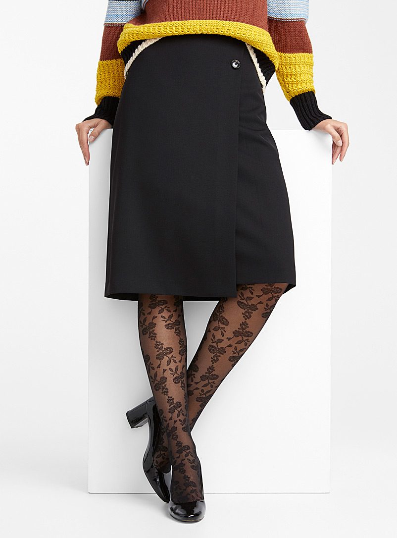 Floral tapestry socks - Patterned Tights - Black