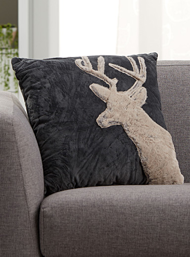 Faux fur deer cushion  18&quote; x 18&quote;