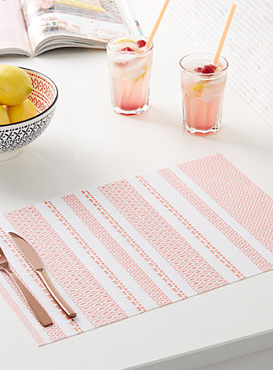 Orange zest braided vinyl placemat