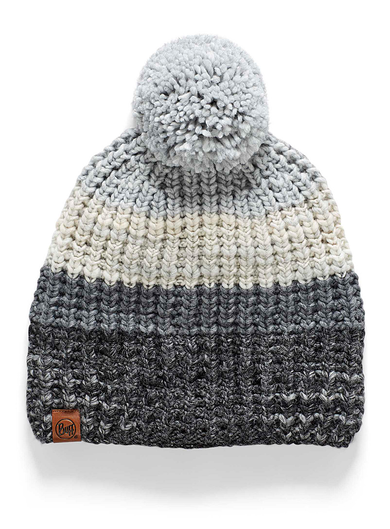 Buff Patterned Black Ribbed nuanced tuque for women