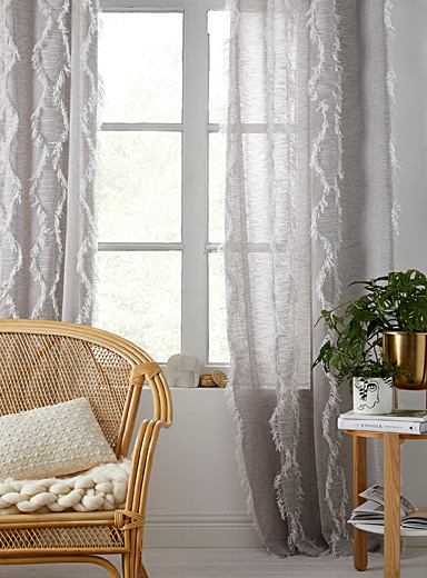 Simons Maison Patterned Grey Extra long wild embroidery sheer curtain  54