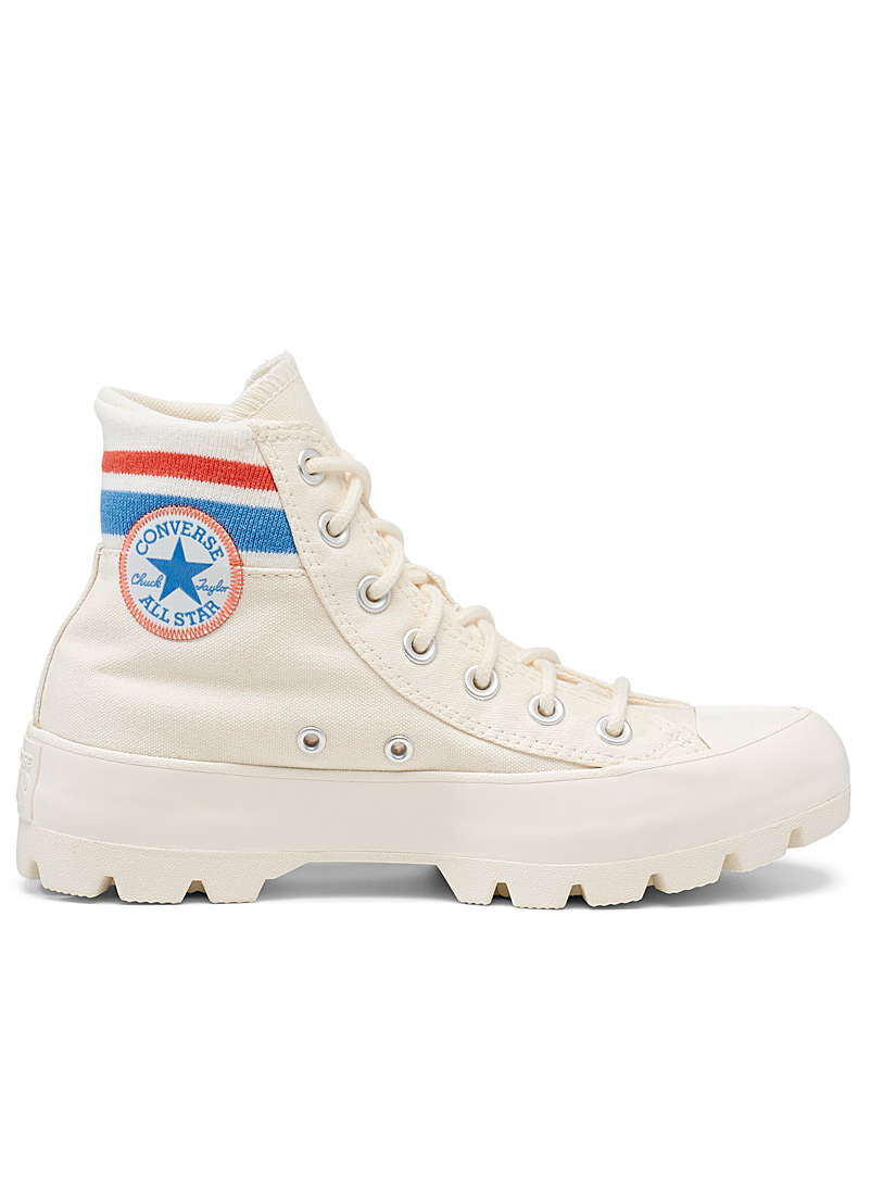 Converse: Le sneaker plateforme Chuck Taylor All Star Lugged Varsity  Femme Ivoire blanc os pour femme