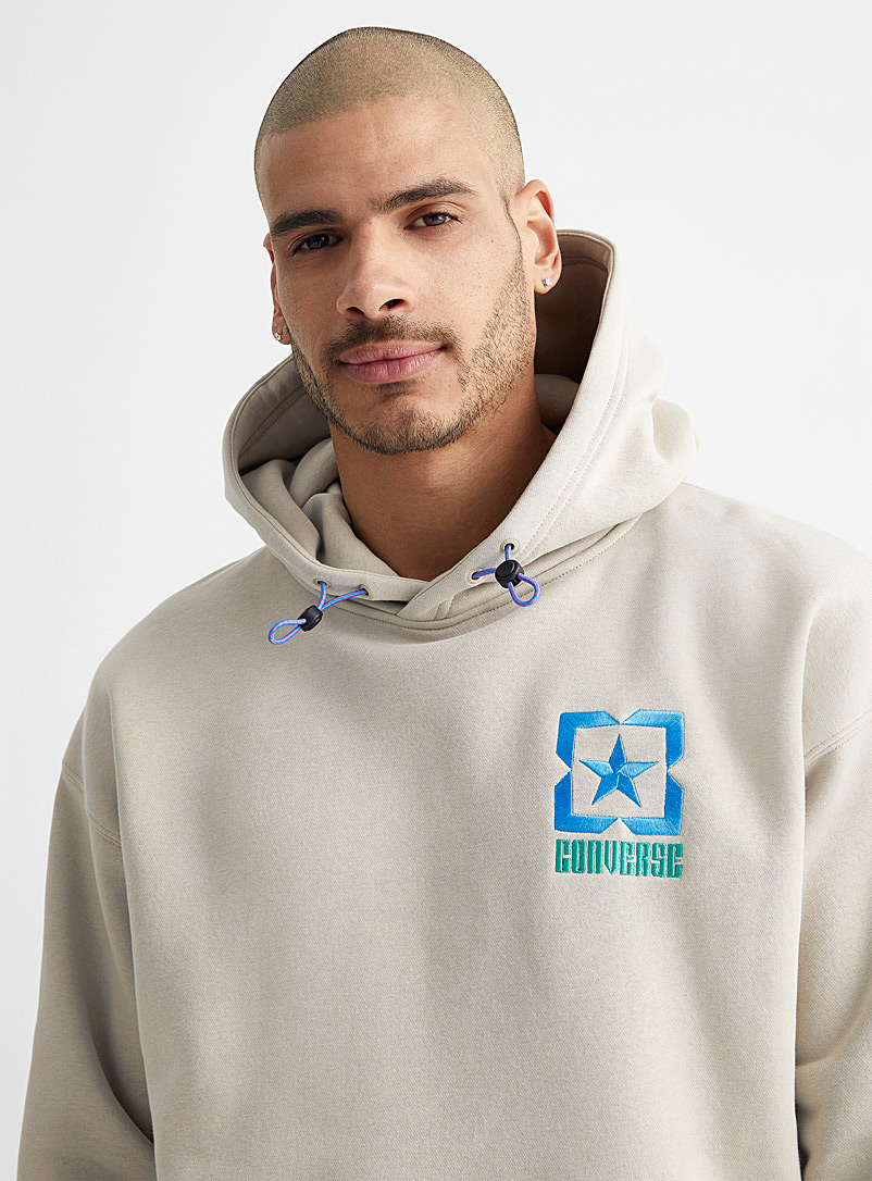 Colourful embroidered logo hoodie