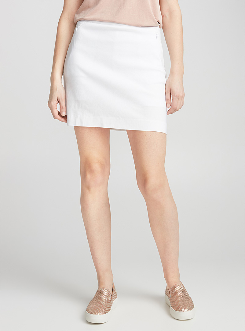 Wide-waist stretch skort - Skorts - White