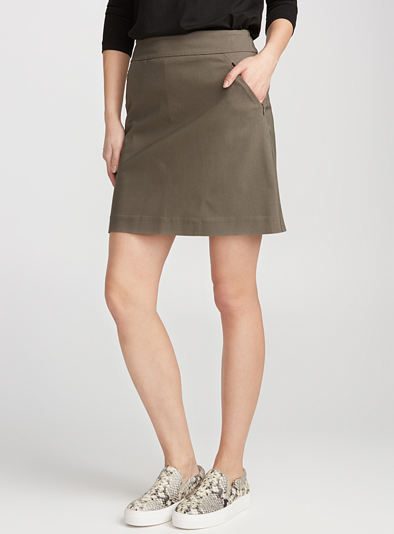 Wide-waist stretch skort - Shorts - Khaki