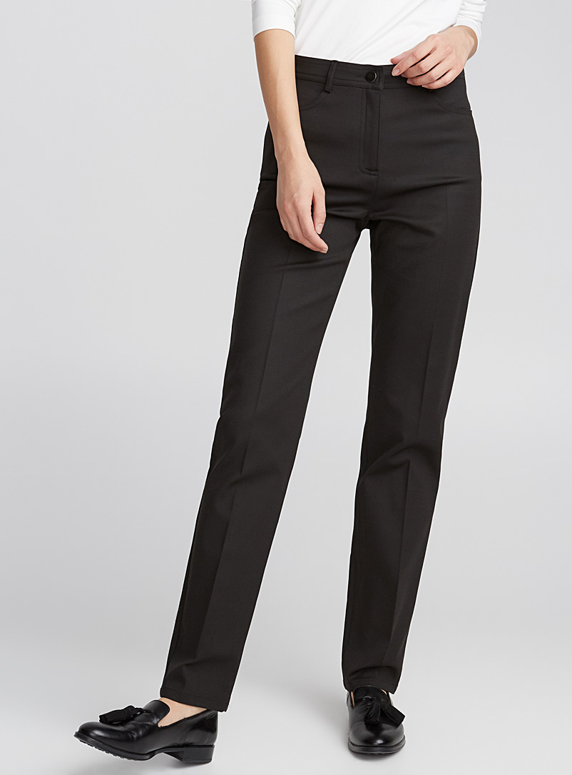 Essential straight-leg stretch cotton pant - Straight - Black