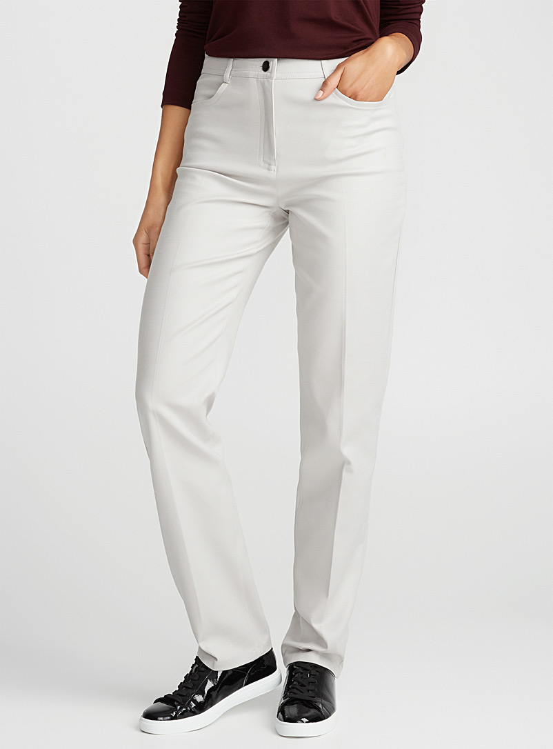Essential straight-leg stretch cotton pant - Straight - Grey